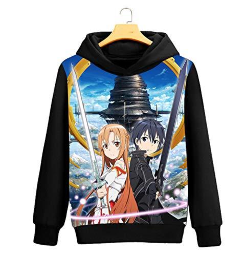 Cosstars Sword Art Online Sao Anime Pullover Sudaderas con Capucha Cosplay Disfraz Hoodie Sweatshirt Outwear Abrigo Suéter Negro 10 S