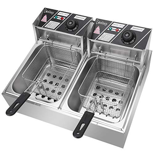 Electric Fryer Stainless Steel Double-cylinder Electric Fryer Household and Commercial Electric Fryers with Basket Desktop Fryers French Fries Fried Chicken and Other Fried Foods