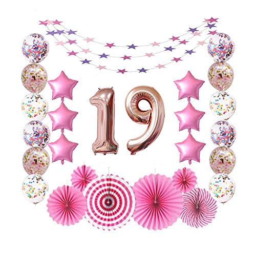 19 Rose Gold Number Foil Balloons for 19th Birthday Party Sign Supplies, Teenager's 19 Years Old Birthday Party Decorations