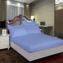 """AVI 100% Cotton 300 Tc California King Size Fitted Bedsheet 72""""x84"""" Pattern-Stripe with 2 Pillow Covers (Sky Blue)"""
