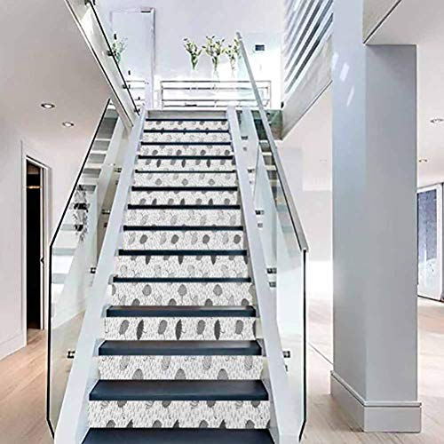 Stair Riser 3D Decals Self-Adhesive Stair Murals, Abstract Umbrellas Pattern in Rain Greyscale Illustration o, for Stair Riser Decals Home Decor, W39.3 x H7.08 Inch x13PCS