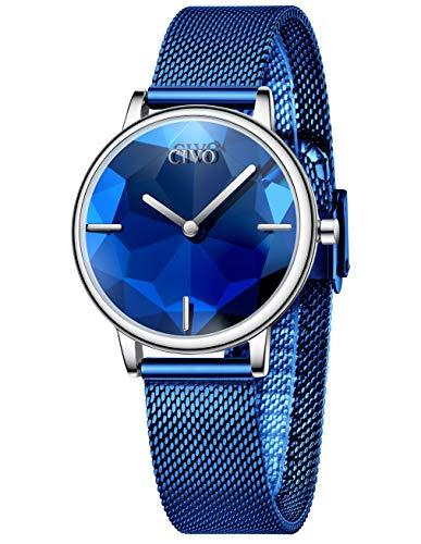 Reloj Mujer Fino Acero Inoxidable Azul Reloj Infantil Niña Impermeable Elegante Relojes de Pulsera Deportivos Malla Analogicos Reloj Niños