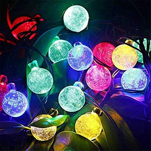 8 modos de luz solar bola de cristal 5M/7M/12M/LED cadena de luces de hadas guirnaldas para fiesta de Navidad decoración al aire libre Día de la Madre (color: B, tamaño: 8 m 40 LED) SKYJIE
