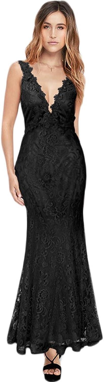 YOU&ME Women's Deep VNeck Sleeveless Cocktail Wedding Dress Lace Skirt