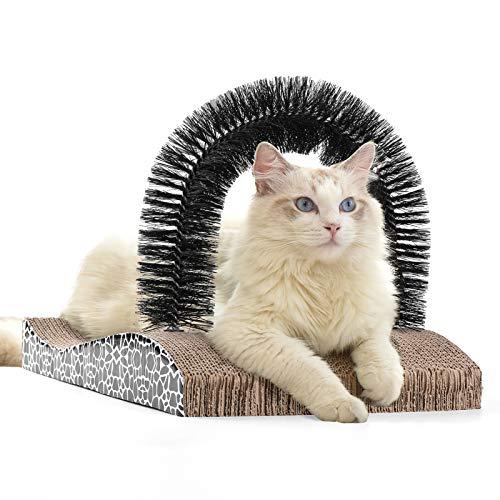 FUKUMARU Cat Self Groomer, 2.0 Version Cat Arch Face Scratcher with Scratcher Pad, Cats Back...