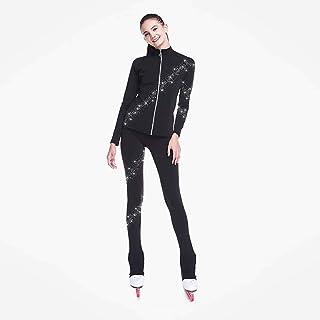 Heart&M Eiskunstlauf-Jacke mit Hosen-Frauen-Mädchen der Jungen Eislauf-Hosen/Hosen Top Schwarz Spandex dehnbaren Training ...
