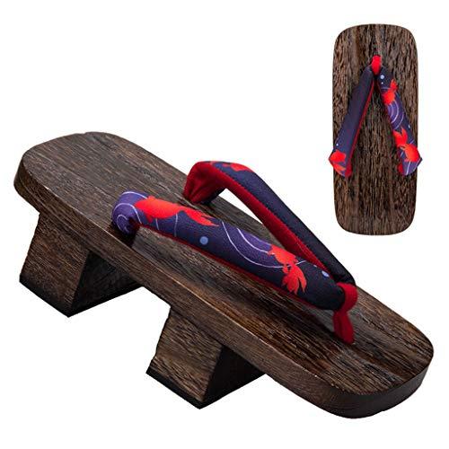 Lili Geta Japanische Clogs, Zwei-Zahn-Holzhausschuhe, Freizeit-Sandalen und Hausschuhe, High-Heel-Clogs