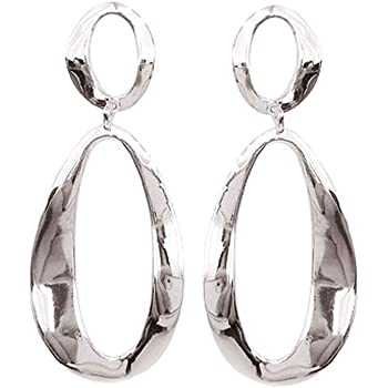 Long Hoops Solid 925 Hammered 925 Sterling Silver Chain Dangle Earrings