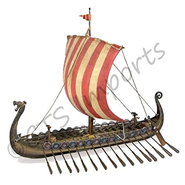 """14"""" Viking Longship Troop Carrier Collectible Museum Replica Ship Model Military Gift"""
