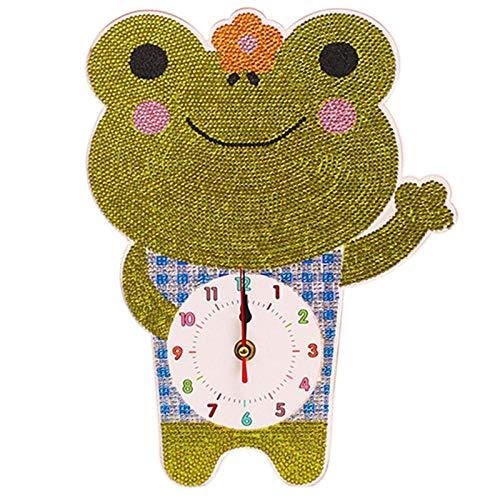 Reloj de pared En forma de reloj especial del diamante Pintura reloj de dibujos animados 5D DIY diamante bordado de Rhinestone de la decoración del hogar-verde Reloj decorativo ( Color : Green )