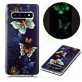 [page_title]-Miagon Leuchtend Luminous Hülle für Samsung Galaxy S10,Fluoreszierend Licht im Dunkeln Handyhülle Silikon Case Handytasche Stoßfest Schutzhülle,Gold Schmetterling