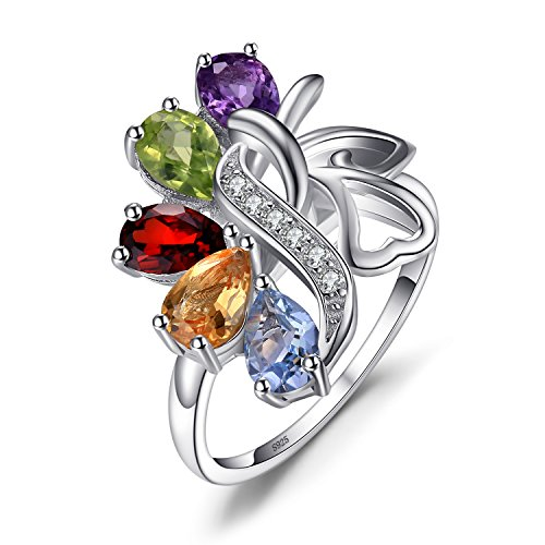 JewelryPalace 1.78ct Luxus Damen Natürliche Bunt Amethyst Citrin Granat Peridot Topas Silbrring Ring 925 Sterling Silber