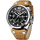 BENYAR - Wrist Watch for Men, Leather Strap Watches Quartz Movement, Waterproof Analog Chronograph Watches