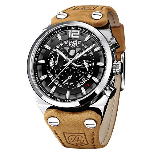 BENYAR - Wrist Watch for Men, Leather Strap Watches Quartz Movement, Waterproof Analog Chronograph...
