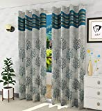 Homefab India Jacquard Blackout Jute Floral 2 Piece Eyelet Polyester Normal Curtain