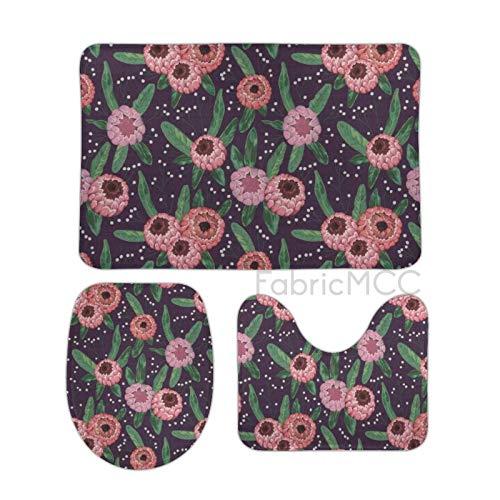 Alfombra de baño antideslizante absorbente alfombra de baño, flor con flores y hojas de Gypsophila, estilo acuarela ilustración 3 piezas