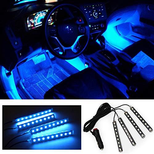 FICBOX Car Interior Lights 4Pcs 36 LEDs DC 12V Strip Light Atmosphere Neon Lights Strip Kits (Blue)