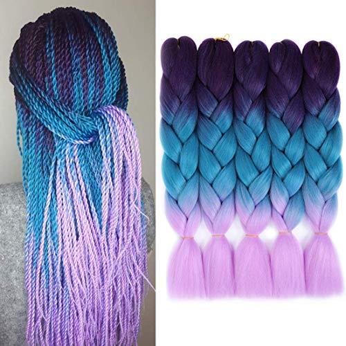 WIGENIUS 5 Packs 3 Tone Ombre Braiding Hair 24 Zoll Jumbo Twist Braids Jumbo Braiding Synthetic High Temperature Hair Extension(lila blau lila)