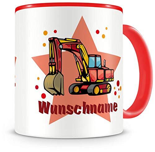Samunshi® Kinder-Tasse mit Namen und einem Großen Bagger als Motiv Bild Kaffeetasse Teetasse Becher Kakaotasse Nr.6: rot H:95mm / D:82mm