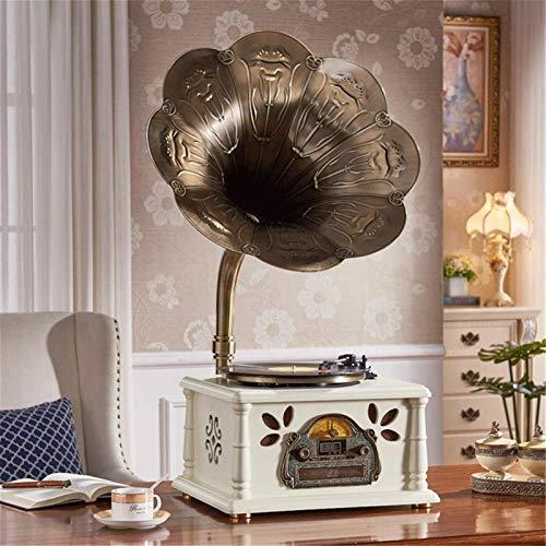 JJSFJH Mini Retro clásico del Estilo del fonógrafo gramófono Forma estéreo de Altavoces de Sonido Sistema de la Caja de música de Audio Blue Tooth Aux-in