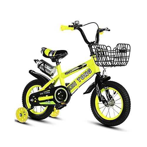 Bicicleta para niños y niñas Freestyle bicicleta 12 14 16 pulgadas con ruedas de entrenamiento, bicicleta infantil (azul, rojo, amarillo)+taza de agua, amarillo, 40,6 cm