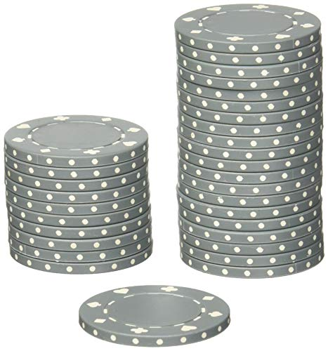 Brybelly Suited Poker Chips (50-Piece), Gray, 11.5gm