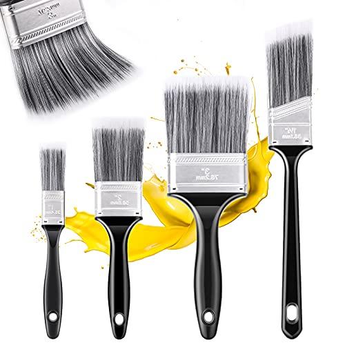 Emitever Malerpinsel Set 4-teilig, Hochwertiger Flachpinsel für präzise Malerarbeiten, Lasurpinsel für alle Untergründe, Praktischer Lackpinsel ohne Borstenverlust, Wandfarbe Set Hausmalpinsel