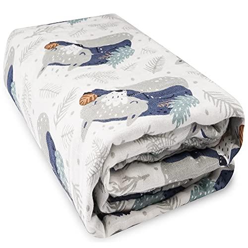 Viviland Baby Musselin Decke 6 Lagen, 120 x 120 cm 100% Baumwolle Kleinkind Quilt, Badetücher für Jungen und Mädchen