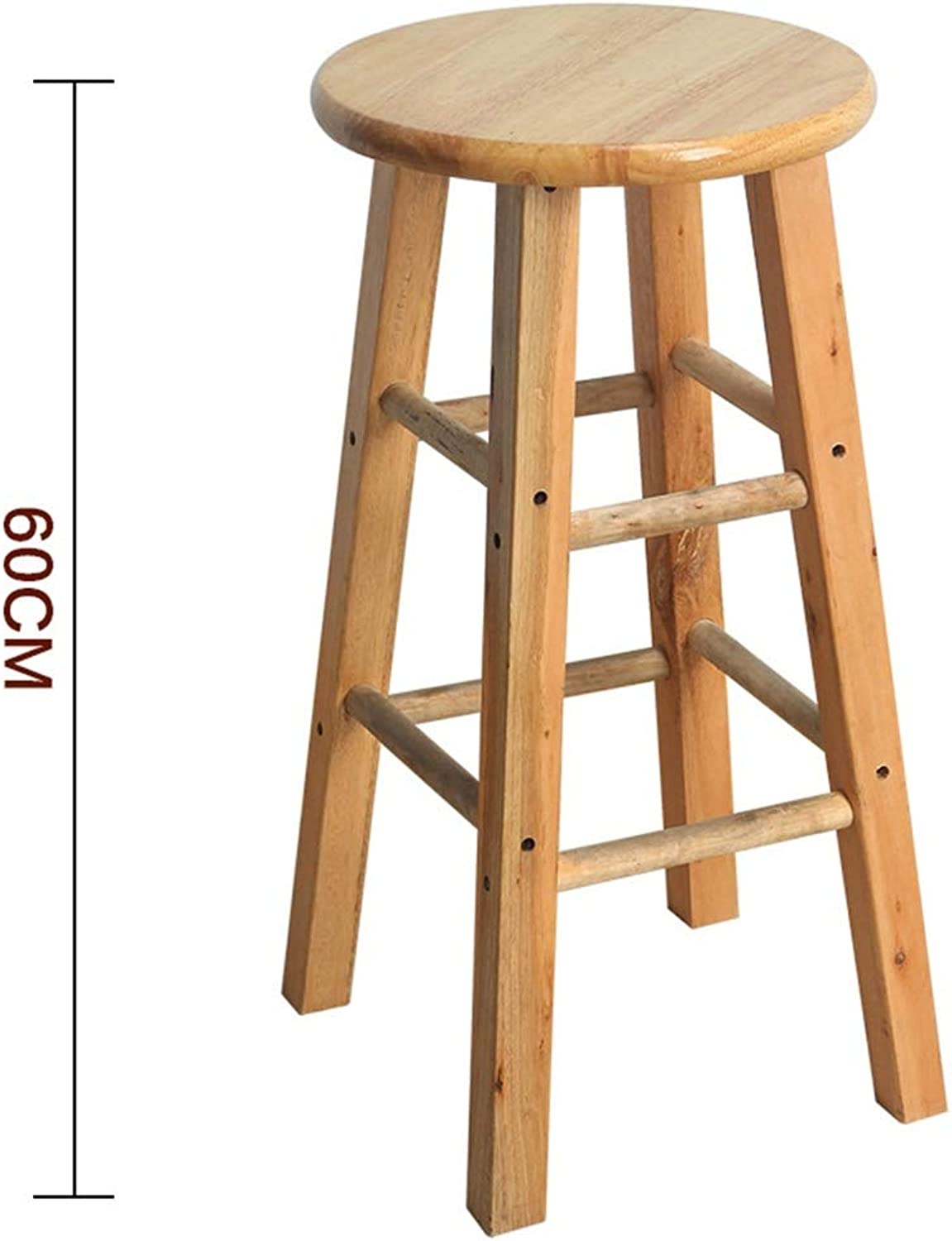 Stool Wooden Bar Stools, Round High Stools, for Counter Café Kitchen Breakfast Pub (Size   60cm)