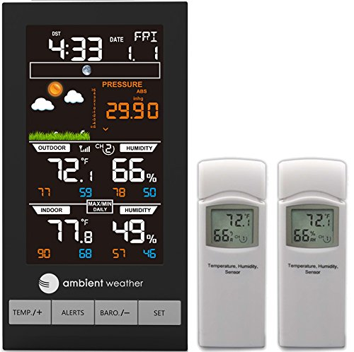 Ambient Weather WS-2801-X2 Advanced Wireless Color Forecast Station w/ 2 Remote Sensors