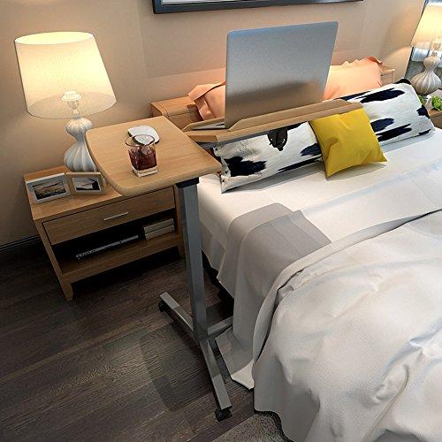 XIA Simple table paresseuse en acier jaune bois couleur noir table d'ordinateur portable table de chevet ascenseur debout il peut se déplacer bureau table d'étude (Couleur : Couleur du bois)