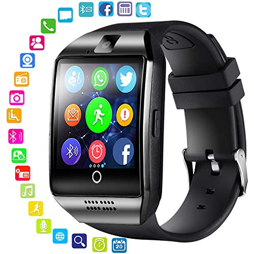 LayOPO Smart Watch mit Kamera, Q18 SmartWatch Wasserdicht Sport Smart Fitness Tracker Armbanduhr mit Sim Card Slot Kamera Schrittzähler für Android Smartphones Silber, schwarz