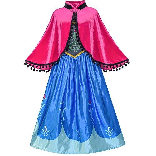Sunny Fashion Princesa Vestido Disfraz Vestirse Cosplay Capa Copo de Nieve 10 años