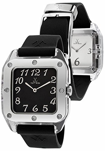 Toy Watch Giocattolo Orologio In alto Nero fondo Bianco Dual Viso Quadrante Nero Gomma Unisex Orologio TW01BW