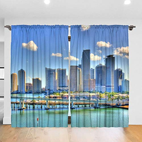 Miami Marqusi Residences Paramount Miami Blackout Curtains Bedroom Blinds - Solid Thermal Insulated Window Treatment Room Decor (2 Panels 52 X 72 in Rod Pocket)