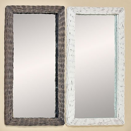 Specchio da parete a figura intera Arun, con cornice in rattan bianco e grigio, altezza 130cm, 2585800