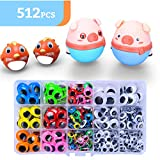 512pcs 6mm-20mm Wiggle Eyes Self-Adhesive for Craft Stickers, Black and Colorful Googly Eyes for DIY...