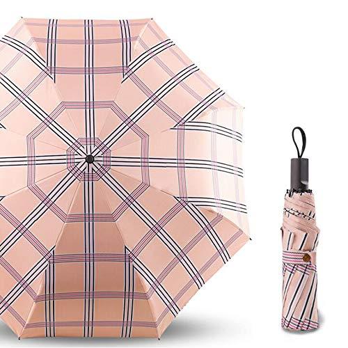 A-hyt Klassische Mode Damen Plaid Sonnencreme UV-Sonnenschirm Dual-Use-Regenschirm Freier Stil (Color : Pink)