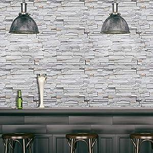 Frisos de Papel Pintado Madera PVC Decoración 3D grano pegatinas de pared de ladrillo de papel de piedra rústica Efecto autoadhesivo Decoración etiqueta engomada del sitio ( Dimensions : 45cmx10m )