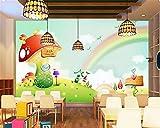 PJX Papel pintado personalizado Soñando Rainbow Seta Vivero Fondo de Dibujos Animados de Niños s Habitación Fondo Mural 3D Papel pintado 150 cm x 105 cm