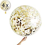 4 Globos de Confeti Gigante XXL Confetti Balloon. Globo Transparente con Confeti Dorado para Fiesta de Cumpleaño, Graduacion y Año Nuevo
