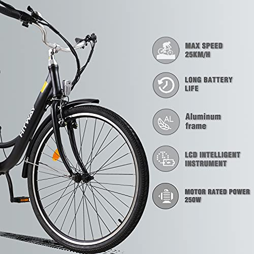 HITWAY 26 Inch City E-Bike with 250W Motor, 7-Speed Gearbox, Pedelec E-Bikes with 36V 10.4AH Removable Lithium Battery 50km