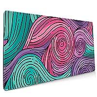 マウスパッド ゲーミングマウスパッド 雲柄 緑赤紫 ゴッホスタイル 大型 キーボードパッド マウス用パッド デスクマット 洗える 滑り止め 防水 レーザー&光学マウス対応(900*400*3mm)
