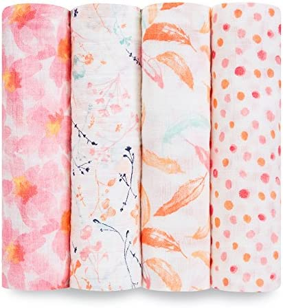 aden + anais Swaddle Blanket, Boutique Muslin Blankets for Girls & Boys, Baby Receiving Swaddles, Ideal Newborn & Infant Swaddling Set, 4 Pack, Around The World