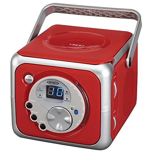 Jensen CD-555 Red CD Bluetooth Boombox Portable...