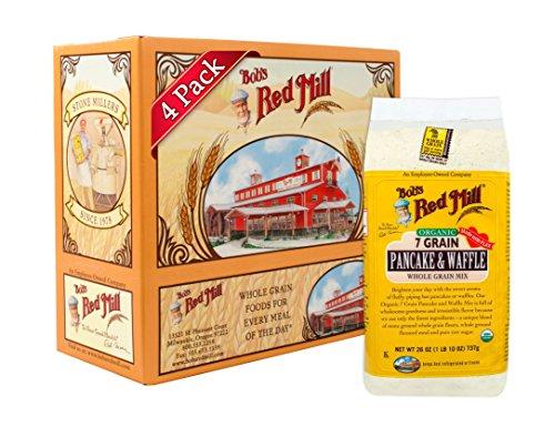 Bob's Red Mill Organic 7 Grain Pancake & Waffle, Whole Grain Mix, 26 Ounce (Pack of 4)