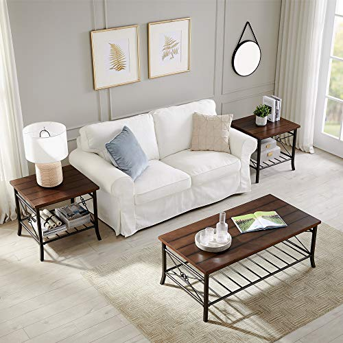 3 Piece Coffee Table Set for Living Room, Sofa Table Set Includes 1 Coffee Table and 2 End Table, Coffee Table with Wood Panels and Metal Frame, Living Room Furniture, Brown with Corss Bottom
