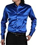 Men's Shirt, Button Down Long Sleeve Silk Like Satin Luxury Solid Dance Prom Party Dress Shirts for Men, Blue, Tag Size 185 = US Large/42