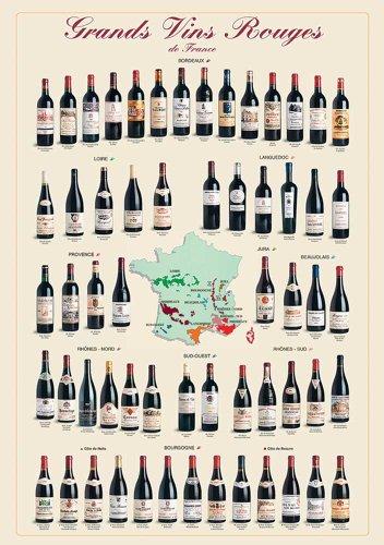 Educational - Bildung Französiche Weine - Grands Vins Rouges de France Bildungsposter Plakat Druck...
