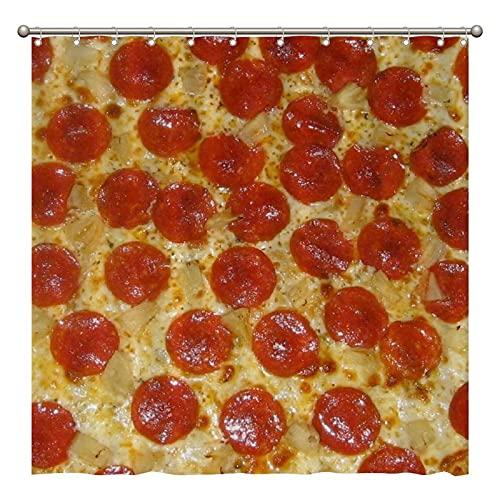 Duschvorhang – Pepperoni Pizza Duschvorhang für Badezimmer Dekor 182 x 183 cm, wasserdichter Stoff Duschvorhang-Set für Zuhause Badezimmer Dekor mit 12 Kunststoffhaken